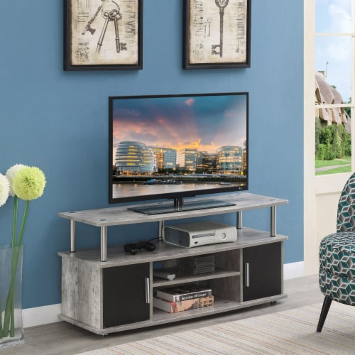 Convenience Concepts Designs2Go Monterey 47  TV Stand in Weathered Gray Wood Perspective: bottom
