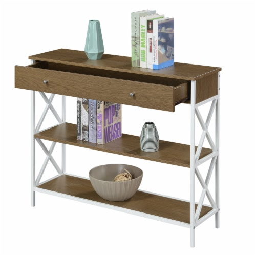 Tucson One-Drawer Console Table in Caramel Wood with White Metal Frame Perspective: bottom