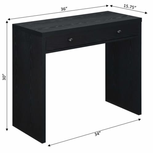 Convenience Concepts Northfield 36-inch Desk with Drawer in Black Wood Finish Perspective: bottom
