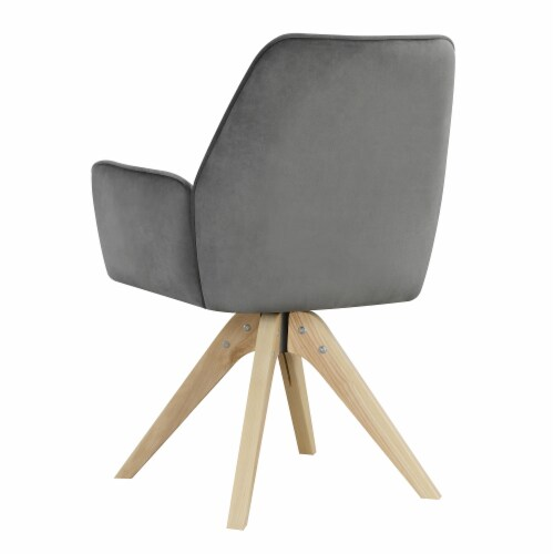 Convenience Concepts Miranda Swivel Accent Chair in Gray Velvet/Natural Wood Perspective: bottom