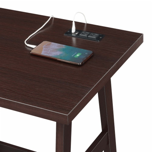 Designs2Go Trestle Desk with Charging Station in Espresso Wood Finish Perspective: bottom