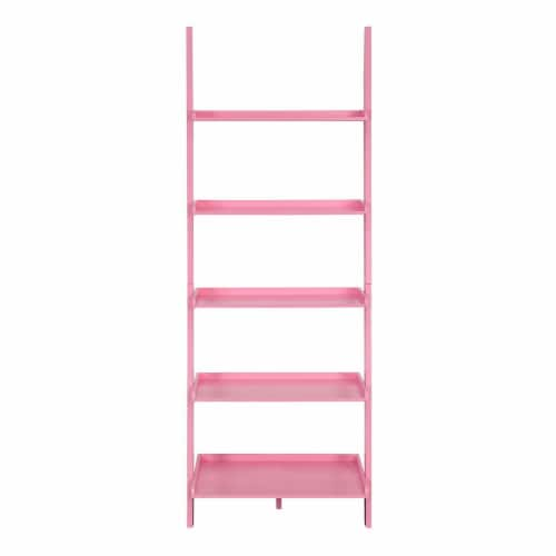 American Heritage Bookshelf Ladder with Five Tiers in Bright Pink Wood Finish Perspective: bottom
