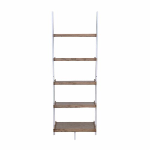 American Heritage Bookshelf Ladder with Five Tiers in Caramel Wood Finish Perspective: bottom