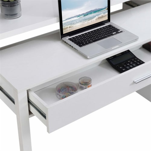 Newport JB Console/Sliding Desk with Drawer and Riser in White Wood Finish Perspective: bottom