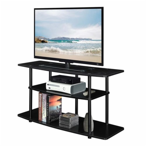 Convenience Concepts Designs2Go Three-Tier Wide TV Stand in Black Wood Finish Perspective: bottom