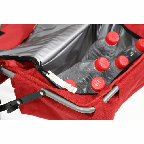 Kamp-Rite Outdoor Camp Folding Director's Chair with Side Table & Cooler, Red Perspective: bottom