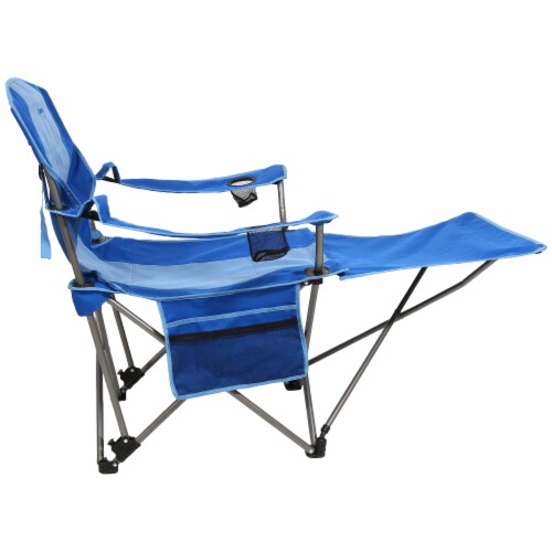 Kamp-Rite Outdoor Camping Beach Patio Folding Chair w/ Detachable Footrest, Blue Perspective: bottom