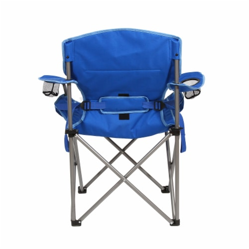 Kamp Rite Padded Folding Camp Chair w/Lumbar Support & Cupholders, Blue Perspective: bottom