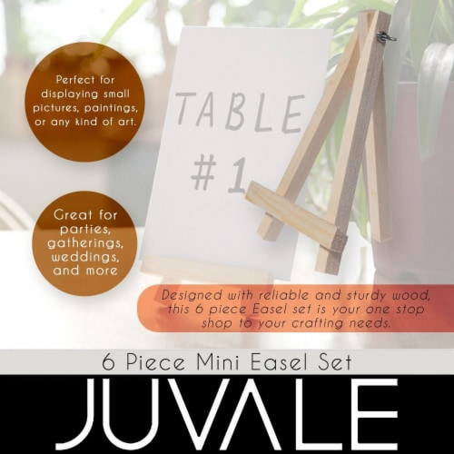 Juvale Wooden Mini Easel Stands for Desk or Tabletop (7 Inches, 6-Pack) Perspective: bottom
