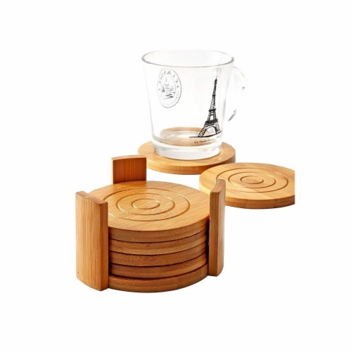 Juvale 6-Pack Round Bamboo Coasters Set with Holder -  Tan, 4.3 Inches Perspective: bottom