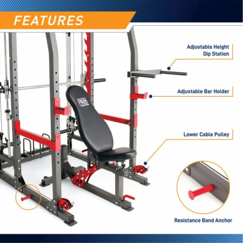 Marcy Pro Smith Machine Weight Bench Home Gym Total Body Workout Training System Perspective: bottom