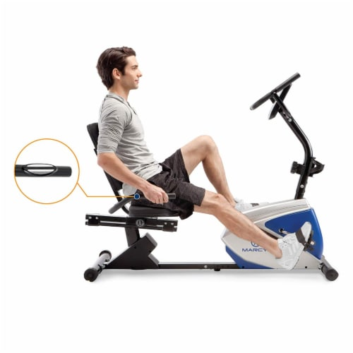 Marcy Sturdy 8 Resistance Magnetic Adjustable Recumbent Home Exercise Bike, Blue Perspective: bottom