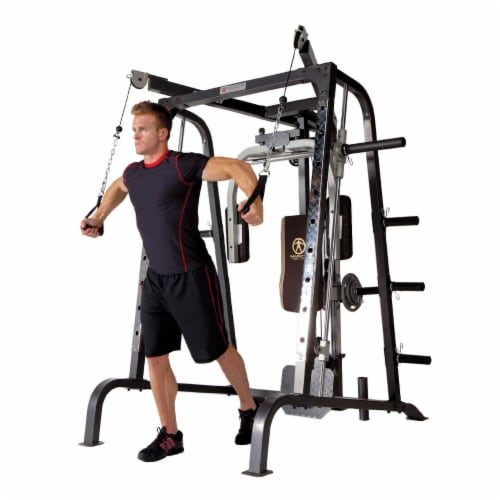Marcy Deluxe Diamond Elite Smith Cage Home Workout Machine Total Body Gym System Perspective: bottom