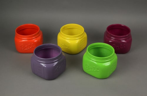 Set of 5 Bright Colorful Ceramic Ball Jar Mini Planters 4.5 Inches High Perspective: bottom