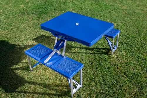 Picnic Table Portable Folding Table with Seats, Royal Blue Perspective: bottom