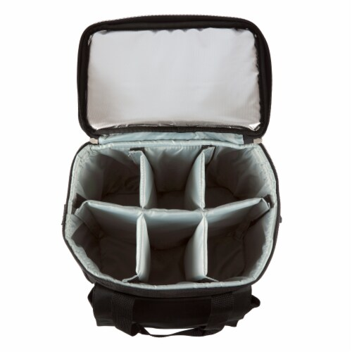 Cellar 6-Bottle Wine Carrier & Cooler Tote with Trolley, Black with Gray Accents Perspective: bottom