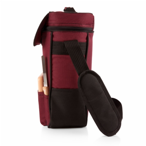 Duet Wine & Cheese Tote, Burgundy Perspective: bottom