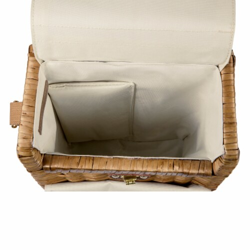 Corsica Wine & Cheese Picnic Basket, Beige Canvas Perspective: bottom