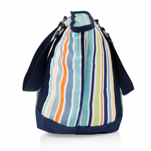 Topanga Cooler Tote Bag, Sky Blue with Multi Stripe Pattern Perspective: bottom