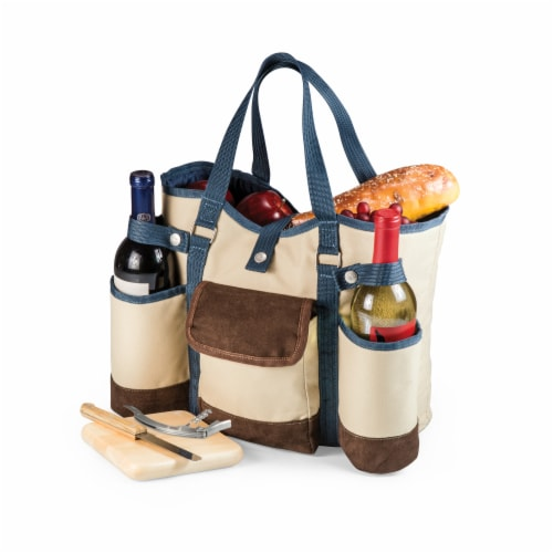 Wine Country Tote – Wine & Cheese Picnic Tote, Beige Canvas with Navy Blue & Brown Accents Perspective: bottom