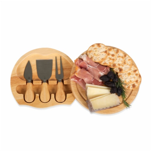Brie Cheese Cutting Board & Tools Set, Rubberwood Perspective: bottom