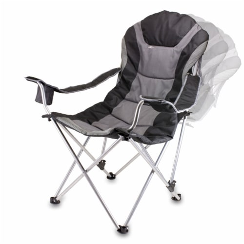 Reclining Camp Chair, Black with Gray Accents Perspective: bottom