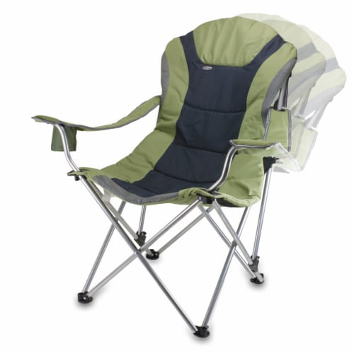 Reclining Camp Chair, Sage Green with Gray Accents Perspective: bottom