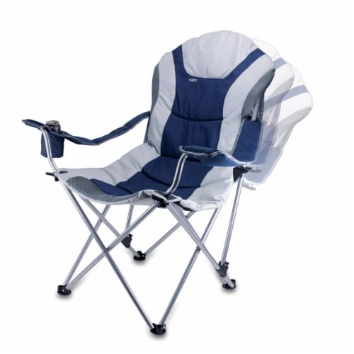 Reclining Camp Chair, Navy Blue with Gray Accents Perspective: bottom