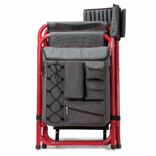 Fusion Backpack Chair with Cooler, Dark Gray with Red Accents Perspective: bottom