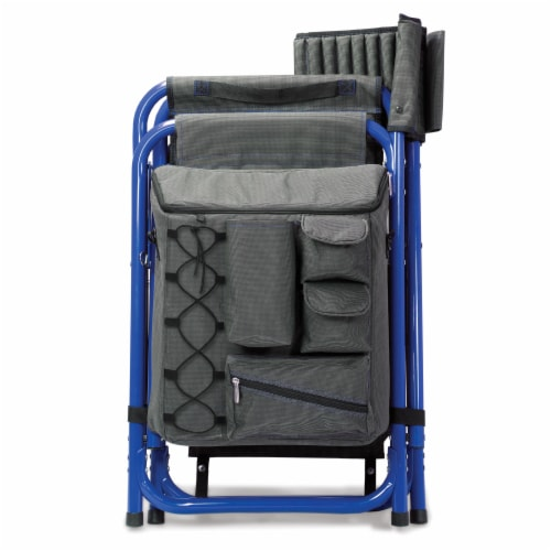 Fusion Backpack Chair with Cooler, Dark Gray with Blue Accents Perspective: bottom