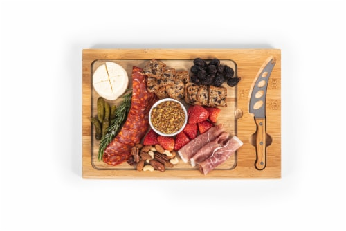 Icon Glass Top Cutting Board & Knife Set, Rubberwood & Bamboo Perspective: bottom