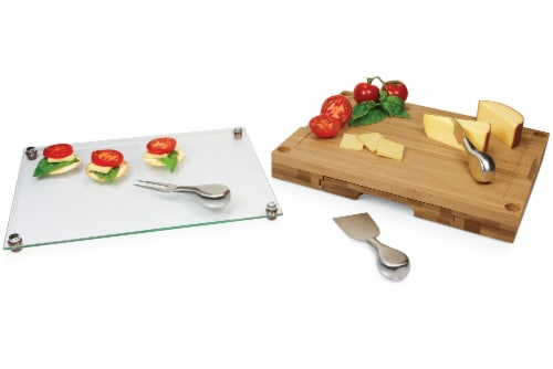 Concerto Glass Top Cheese Cutting Board & Tools Set, Bamboo Perspective: bottom