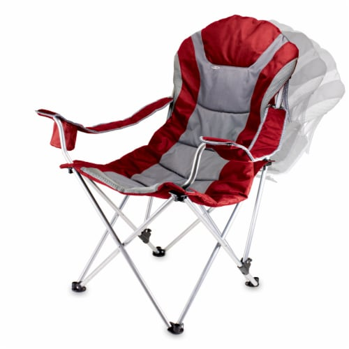 Reclining Camp Chair, Dark Red Perspective: bottom