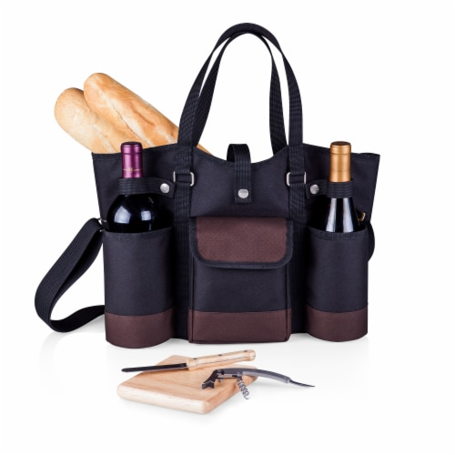 Wine Country Tote – Wine & Cheese Picnic Tote, Black with Burgundy Accents Perspective: bottom