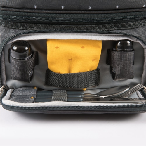 Pranzo Lunch Cooler Bag, Gray with Gold Accents Perspective: bottom