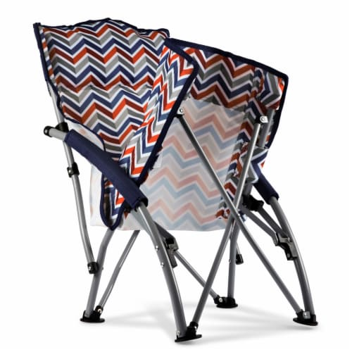 Tranquility Portable Beach Chair, Vibe Collection - Navy Blue, Orange, & Gray Pattern Perspective: bottom