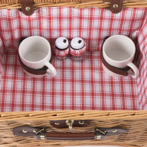 Catalina Picnic Basket, Red & White Plaid Pattern Perspective: bottom