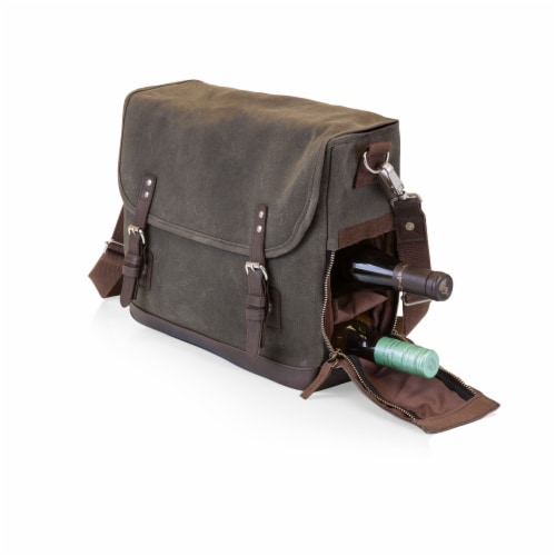 Adventure Wine Tote, Khaki Green with Brown Accents Perspective: bottom