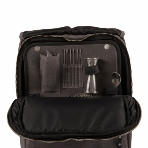 Bar-Backpack Portable Cocktail Set, Gray Perspective: bottom