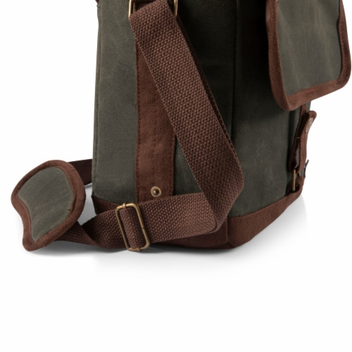 Insulated Double Growler Tote, Khaki Green with Brown Accents Perspective: bottom