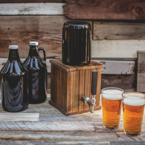 Growler Tap with 64 oz. Glass Growler, Acacia Wood Perspective: bottom