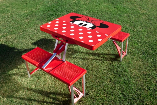 Disney Minnie Mouse - Picnic Table Portable Folding Table with Seats, Red Perspective: bottom