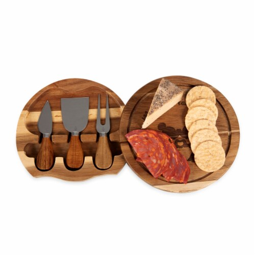 Disney Mickey & Minnie Mouse - Acacia Brie Cheese Cutting Board & Tools Set, Acacia Wood Perspective: bottom