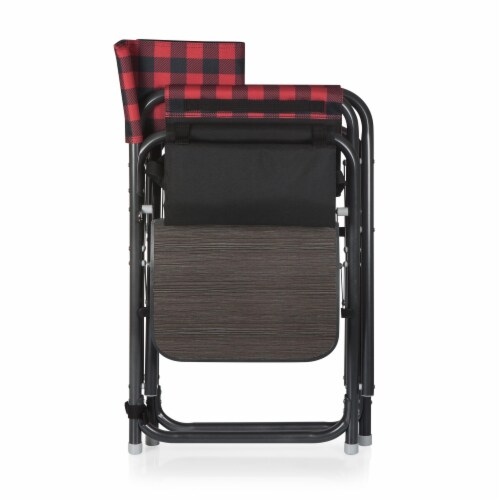 Outdoor Directors Folding Chair, Red & Black Buffalo Plaid Pattern Perspective: bottom
