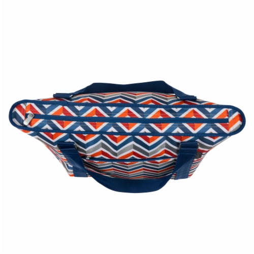 Topanga Cooler Tote Bag, Vibe Collection - Navy Blue, Orange, & Gray Pattern Perspective: bottom