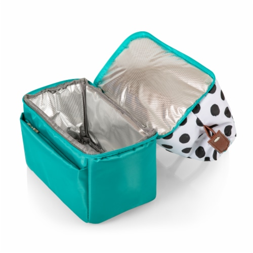 Urban Lunch Bag, Teal with Polka Dot Pattern Perspective: bottom