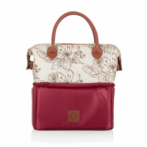 Urban Lunch Bag, Burgundy with Floral Pattern Perspective: bottom