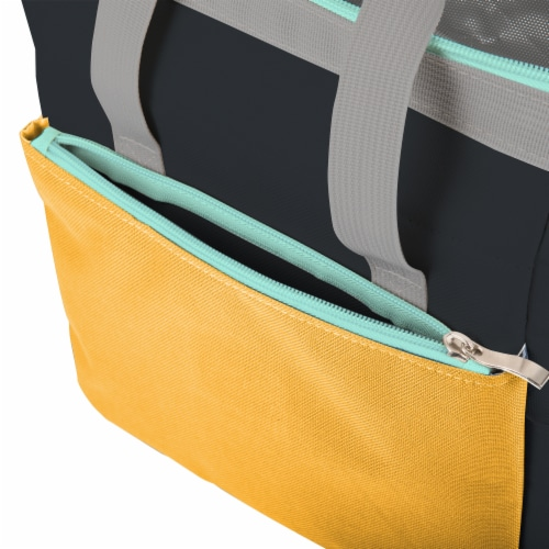 On The Go Lunch Cooler, Mustard Yellow with Gray & Blue Accents Perspective: bottom