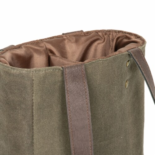 2 Bottle Insulated Wine Cooler Bag, Khaki Green with Beige Accents Perspective: bottom