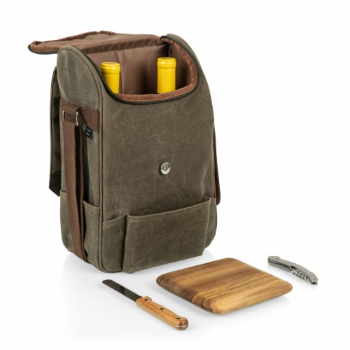 2 Bottle Insulated Wine & Cheese Cooler with Cheese Board, Knife & Corkscrew, Khaki Green Perspective: bottom